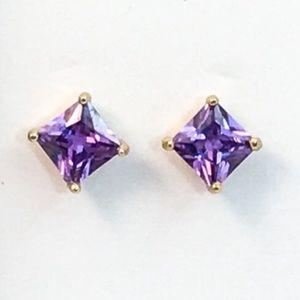 Square Cut Purple Faux Amethyst Studs